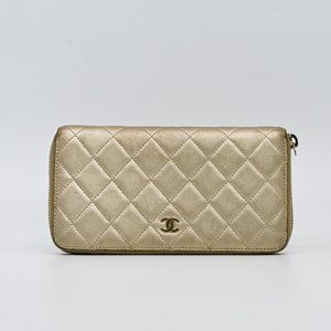 CHANEL Gold Lambskin Leather Quilted Zip Wallet